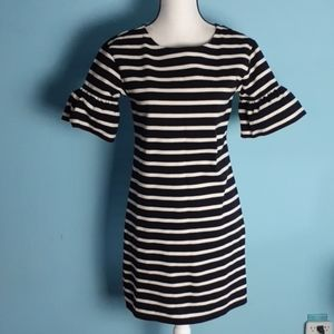 J.Crew striped Bell sleeve dress fitted xs